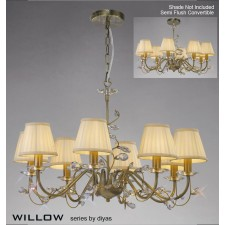 Diyas Willow Pendant 8 Light Antique Brass/Crystal