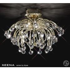 Diyas Xeena Ceiling 10 Light Gold/Crystal