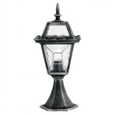 Lantern - Black/Silver with Leaded Glass