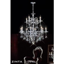Diyas Zinta Crystal Ceiling 12 Light Chrome