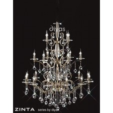 Diyas Zinta Crystal Ceiling 22 Light Gold Finish