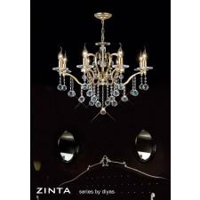 Diyas Zinta Crystal Ceiling 8 Light Gold Plated