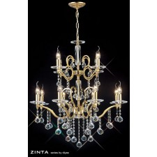Diyas Zinta Crystal Ceiling 12 Light Gold Plated