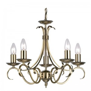 Tied Ceiling Light - 5 Light Antique Brass