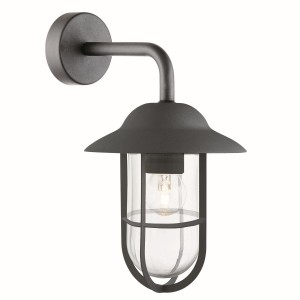 Well Glass Lantern Outdoor Wall Bracket, Matt Black, Clear Glass Shade