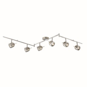 Palmer Split Ceiling Spotlight Bar with Adjustable Heads - 6 Spot, Chrome, Satin Silver
