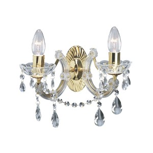 Marie Therese Glass Chandelier Wall Light - 2 Light, Polished Brass