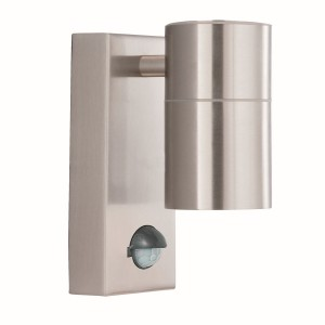 Satin Silver Outdoor Wall Light - Motion Sensor