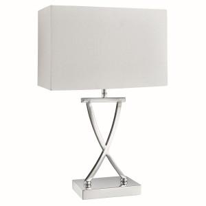 Table Lamp, X Shape Base Chrome, White Rectangle Shade