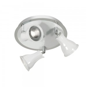 Biba Ceiling Spotlight - 3 Light, White with Chrome