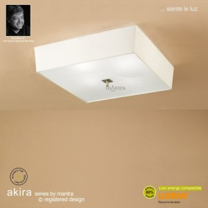 Akira Ceiling 4 Light Antique Brass With Cream Shade