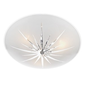 Albany Semi Flush Ceiling Light - 3 Light, White, Polished Chrome