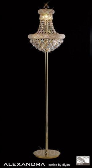 Diyas Alexandra Floor Lamp 8 Light French Gold/Crystal