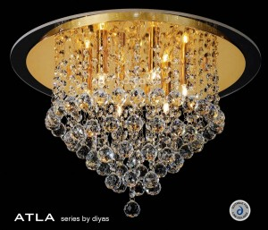 Diyas Atla Flush Ceiling 6 Light Round Gold Plated/Crystal