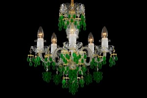 Bohemian BCC05V Crystal Chandelier with Grape-Shaped Trimmings - 5-Light