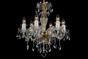 Bohemian BCC06B Neutral Crystal Chandelier - 6-Light