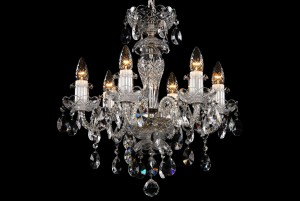 Bohemian BCC06BS Silver Crystal Chandelier - 6-Light