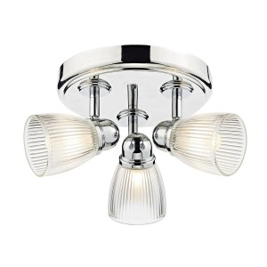 Cedric 3 Light Round Plate Spot Polished Nickel IP44