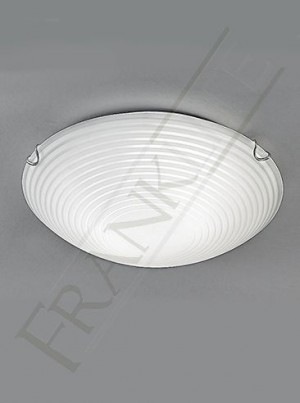Franklite 300mm Decorative Circular Flush Fitting - Frosted Glass, Chrome Clasps