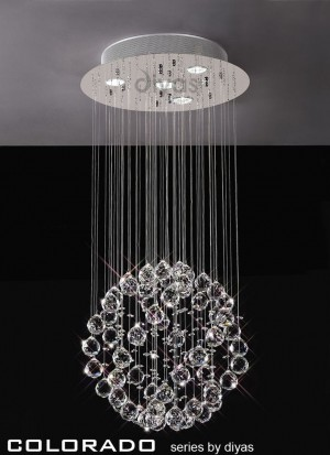 Diyas Colorado Pendant 4 Light Polished Chrome/Crystal