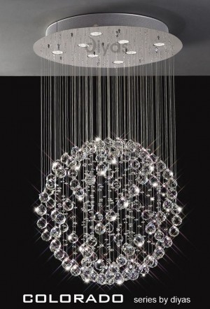 Diyas Colorado Pendant 8 Light Polished Chrome/Crystal