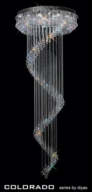 Diyas Colorado Multi-Spiral Pendant 15 Light Polished Chrome/Crystal