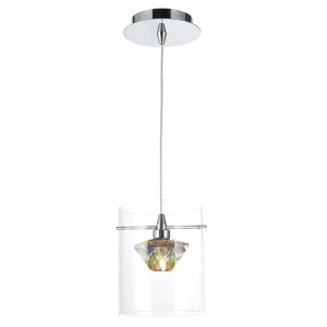 Decade 1 Light Pendant Polished Chrome/Clear