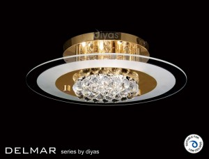 Diyas Delmar Flush Round 6 Light Gold Finish/Crystal