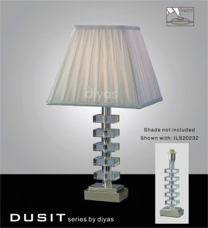 Diyas Dusit Table Lamp 1 Light Polished Chrome/Crystal