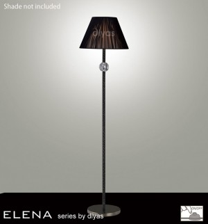 Diyas Elena Floor Lamp 1 Light Black Chrome/Crystal