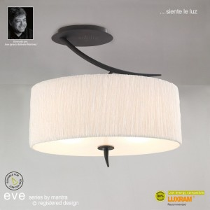 Eve Semi Ceiling 2 Light Antracite With White Shade