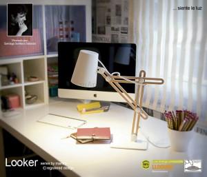 Looker Table Lamp 1 Light White/Beech