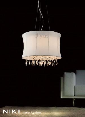 Diyas Niki Pendant 4 Light Polished Chrome/Crystal With White Shade