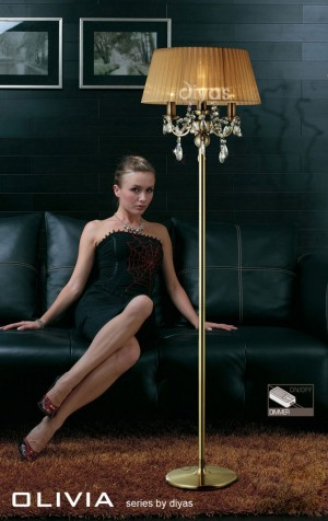 Diyas Olivia Floor Lamp 3 Light Antique Brass/Crystal With Soft Bronze Shade