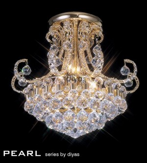 Diyas Pearl Ceiling 9 Light Round Gold Plated/Crystal